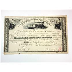 Baltimore & Ohio Rail Road Co., 1885 Cancelled Stock Certificate