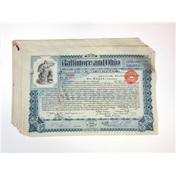 Baltimore & Ohio Rail Road Co., 1898-1899 Group of Cancelled Stock Certificates