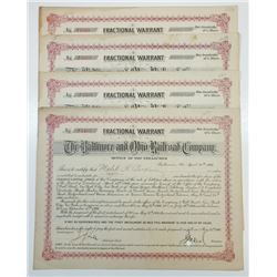 Baltimore & Ohio Railroad Co., 1906 Group of Cancelled Warrant Certificates
