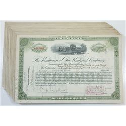 Baltimore & Ohio Railroad Co., ca.1914-1928 Group of over 55 Cancelled Stock Certificates