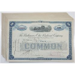 Baltimore & Ohio Railroad Co., ca.1927-1928 Group of 31 Cancelled Stock Certificates