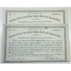 Baltimore and New York Railway Co., 1889 Pair of Cancelled Bonds