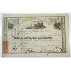 Baltimore and Ohio Rail-Road Co., 1865 Stock Certificate Signed by John Hopkins