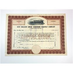 New Orleans Great Northern Railway Co., 1933 Cancelled Stock Certificate
