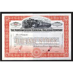 Northwestern Terminal Railroad Co., ND (ca.1927), Specimen Railroad Stock Certificate.