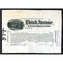 Third Avenue Railway Co. 1910-30 Proof Stock Certificate.