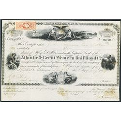 Atlantic & Great Western Rail Road Co., 1865 Issued Stock