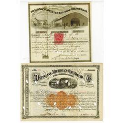 Boston & Worcester Rail-Road Corp., and Dayton & Michigan Railroad Co.,  1867-1873 Cancelled Bond Pa
