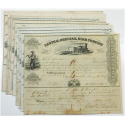 Central Ohio Rail Road Co., ca.1867-1872 Group of Cancelled Stock Certificates