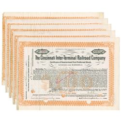 Cincinnati Inter-Terminal Railroad Co., 1907-1908 Group of Cancelled Stock Certificates