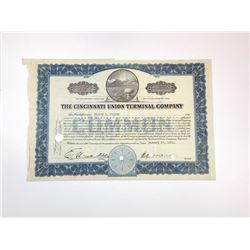 Cincinnati Union Terminal Co., 1931 Cancelled Stock Certificate