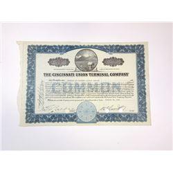 Cincinnati Union Terminal Co., 1942 Cancelled Stock Certificate