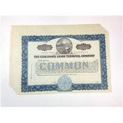 Cincinnati Union Terminal Co., ca.1930-1940 lot of 8 of Unissued Stock Certificates