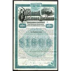 Cincinnati, Jackson & Mackinaw Railroad Company, 1887 Specimen First Mortgage 5% Bond