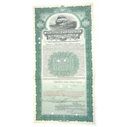Wichita Falls and Southern Railway Co. 1908 Issued $1000 Bond.