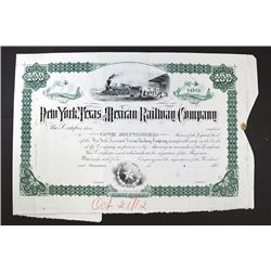 New York, Texas & Mexican Railway Co. 1882 Unique Archival Approval Proof Stock Certificate.