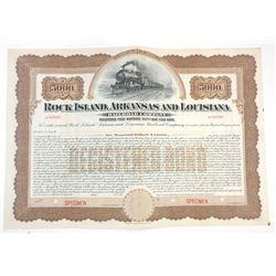 Rock Island, Arkansas & Louisiana Railroad Co. 190x  Specimen Bond.