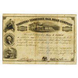 Virginia and Tennessee Rail Road Co., 1857 Issued stock Certificate.