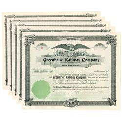 Greenbrier Railway Co., ca.1890-1910 Group of Unissued Stock Certificates