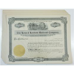 Loop & Lookout Railroad Co., ca.1900-1910 Group of Unissued Stock Certificates