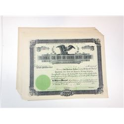 Pocahontas, Coal River and Kanawha Railway Co., ca.1900-1910 Group of Unissued Stock Certificates