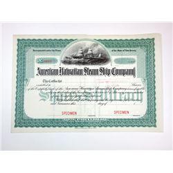 American Hawaiian Steam Ship Co., ca.1890-1910 Specimen Stock Certificate