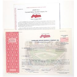 Cleveland Indians Baseball Co., 1998 Issued Stock Certificate with Prospectus.
