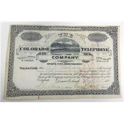 Colorado Telephone Co., 1881 Stock Certificate.
