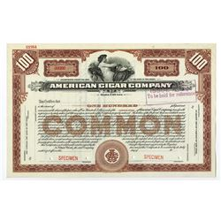 American Cigar Co., ND ca.1900-1920 Specimen Stock Certificate.