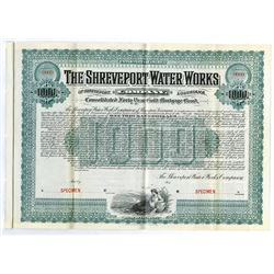 Shreveport Water Works Co., 1902 Specimen Bond
