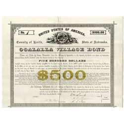 Ogalalla Village Bond, 1885 I/U Municipal Bond.