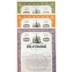 City of Cincinnati Trio of Specimen Bonds 1957-1958