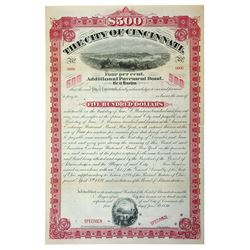 City of Cincinnati, 1894 Specimen Bond