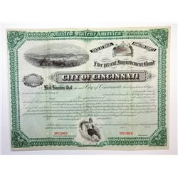 City of Cincinnati, ca.1881 Specimen Bond