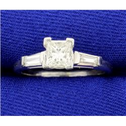 Over 1 CT TW Platinum Diamond Engagement Ring