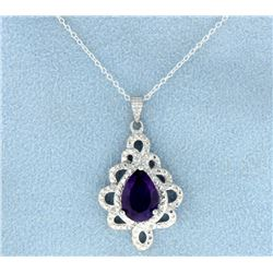 Amethyst and Diamond Sterling Pendant with Chain