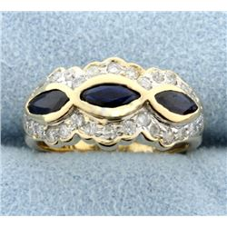 Natural Sapphire and Diamond 14k Yellow Gold Ring