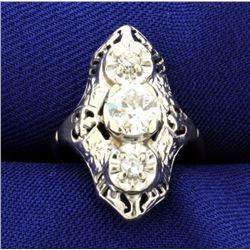 Vintage Over .8 ct TW Old European Diamond Filigree Ring