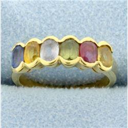 18k Yellow Gold Rainbow Colored Semi-Precious Gemstone Ring