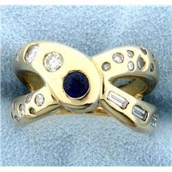 1 ct TW Custom Designed Sapphire and Diamond Ring