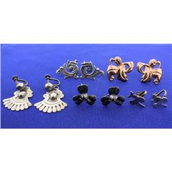 Five Pair of Vintage Sterling Silver Screw Back Earrings