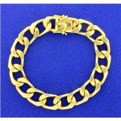 Heavy Flat Curb Link Chain Bracelet