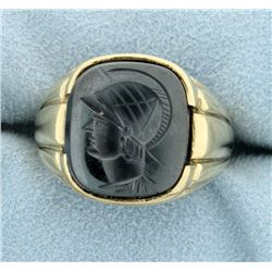 Carved Hematite Gladiator Signet Ring