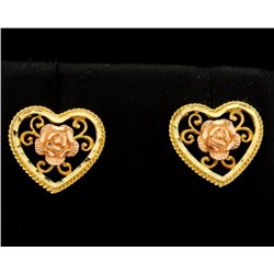 Rose and Yellow Gold Heart Shaped Earrings with a Rose