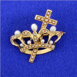 Vintage Crown/Cross Pin