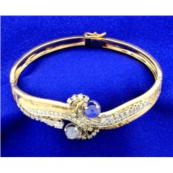 Star Sapphire and Diamond Bangle bracelet