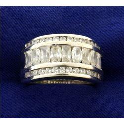 3ct CZ Ring in 14k White Gold