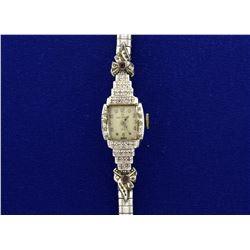 Vintage 14k Gold and Diamond Helbros Wrist Watch