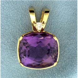 17ct Amethyst and Diamond Pendant