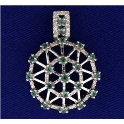 Tsavorite Garnet and Diamond Pendant